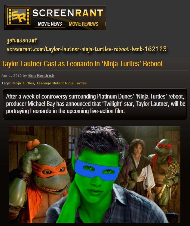 Taylor Lautner als Ninja Turtle...